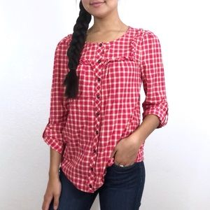 Holding Horses FLAWED Quadrado Red Gingham Top